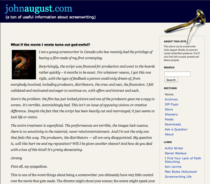 Johnaugust.com as it appeared April 2006