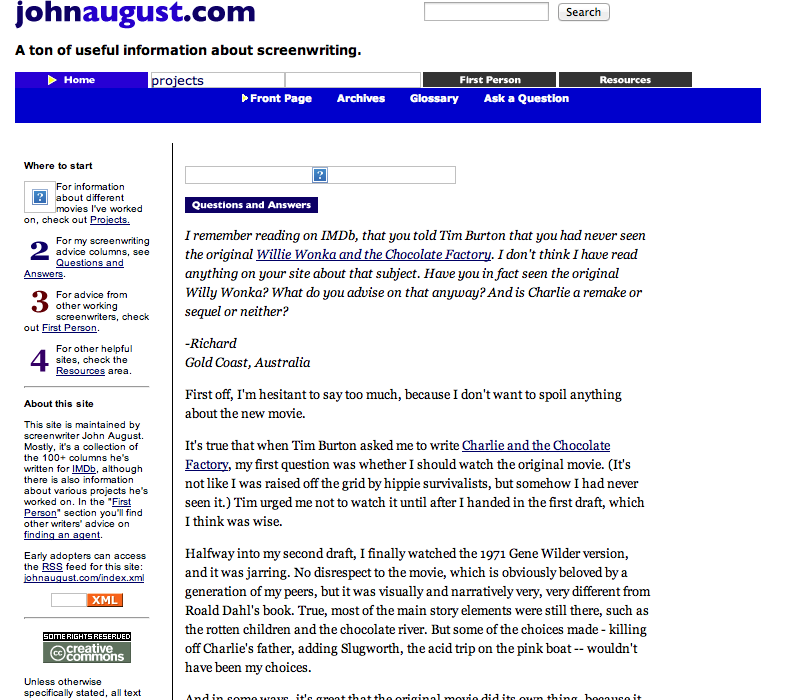 Johnaugust.com as it appeared December 2004