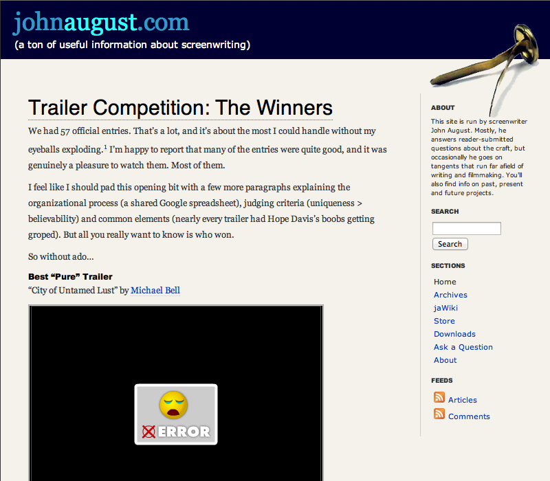 Johnaugust.com as it appeared November 2007