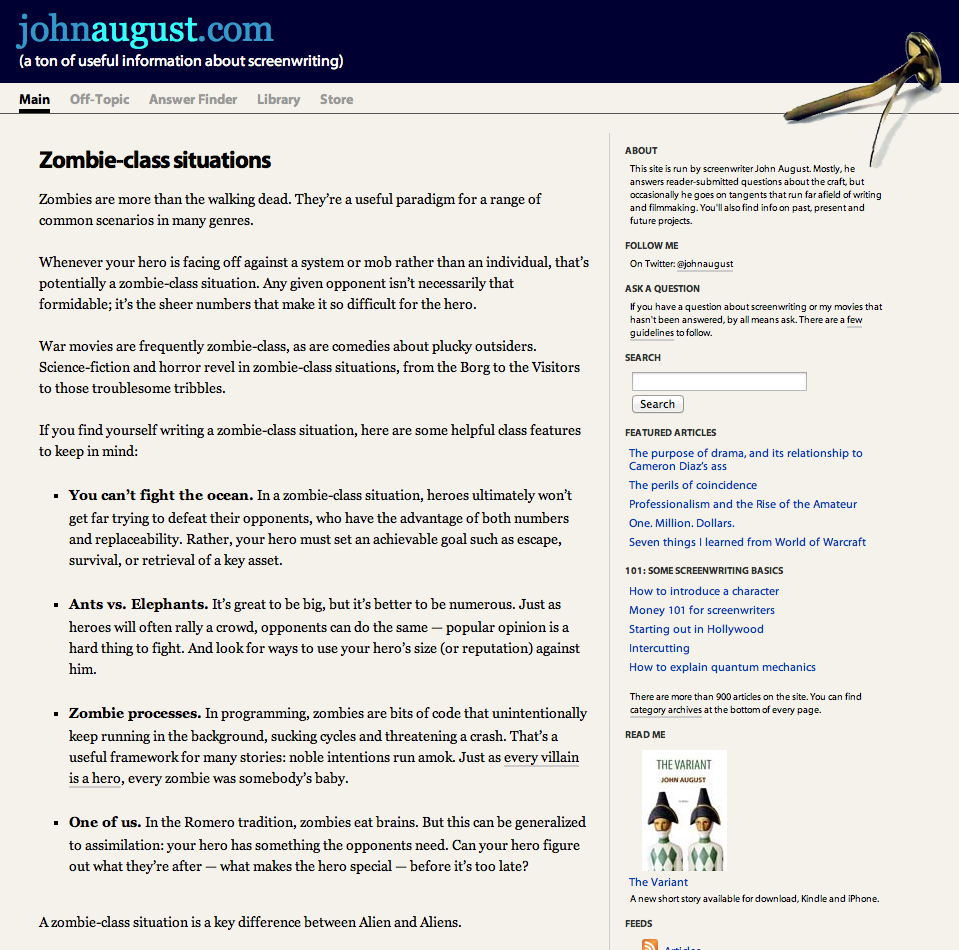 Johnaugust.com as it appeared November 2009