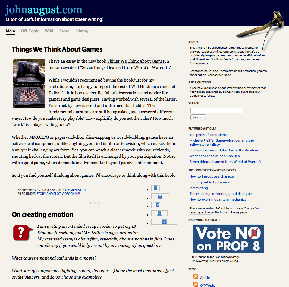 Johnaugust.com as it appeared November 2008