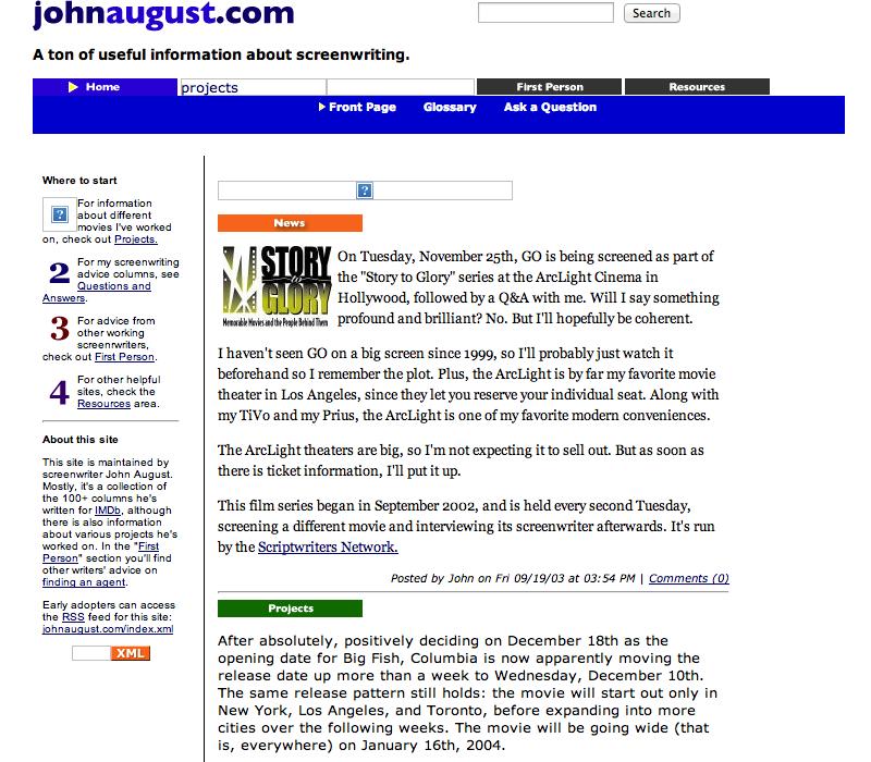 Johnaugust.com as it appeared September 2003