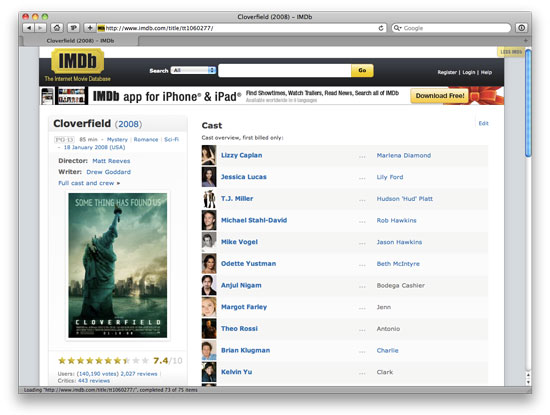 The final Less IMDb design.