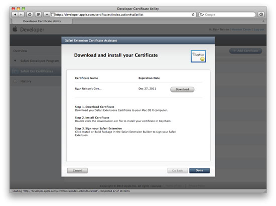 Step 6: Install developer certificate