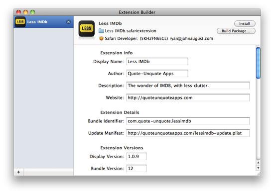 Safari Extension Builder