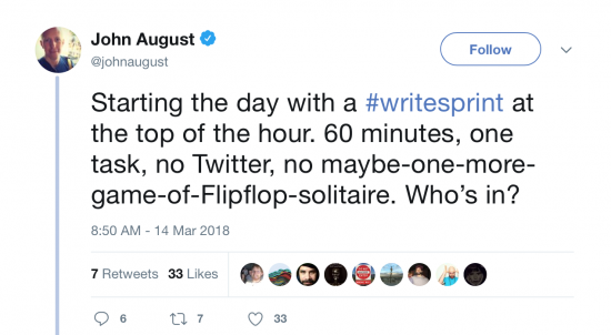tweet about writesprint