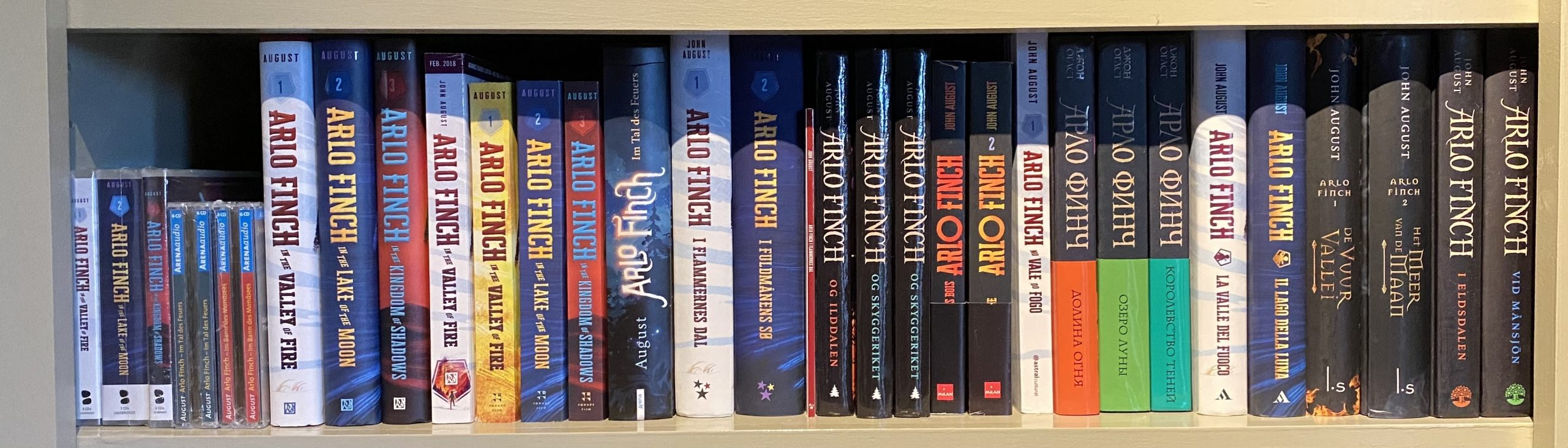 shelf with arlo finch books lined up